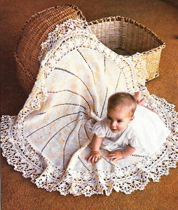 Vintage Lacy Circular Baby Shawl Crochet Pattern Pdf Crocheting