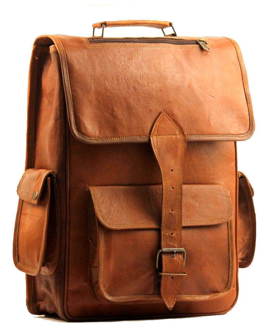 Men's NEW Vintage Genuine Leather Laptop Backpack Leather Rucksack Bagpack-3