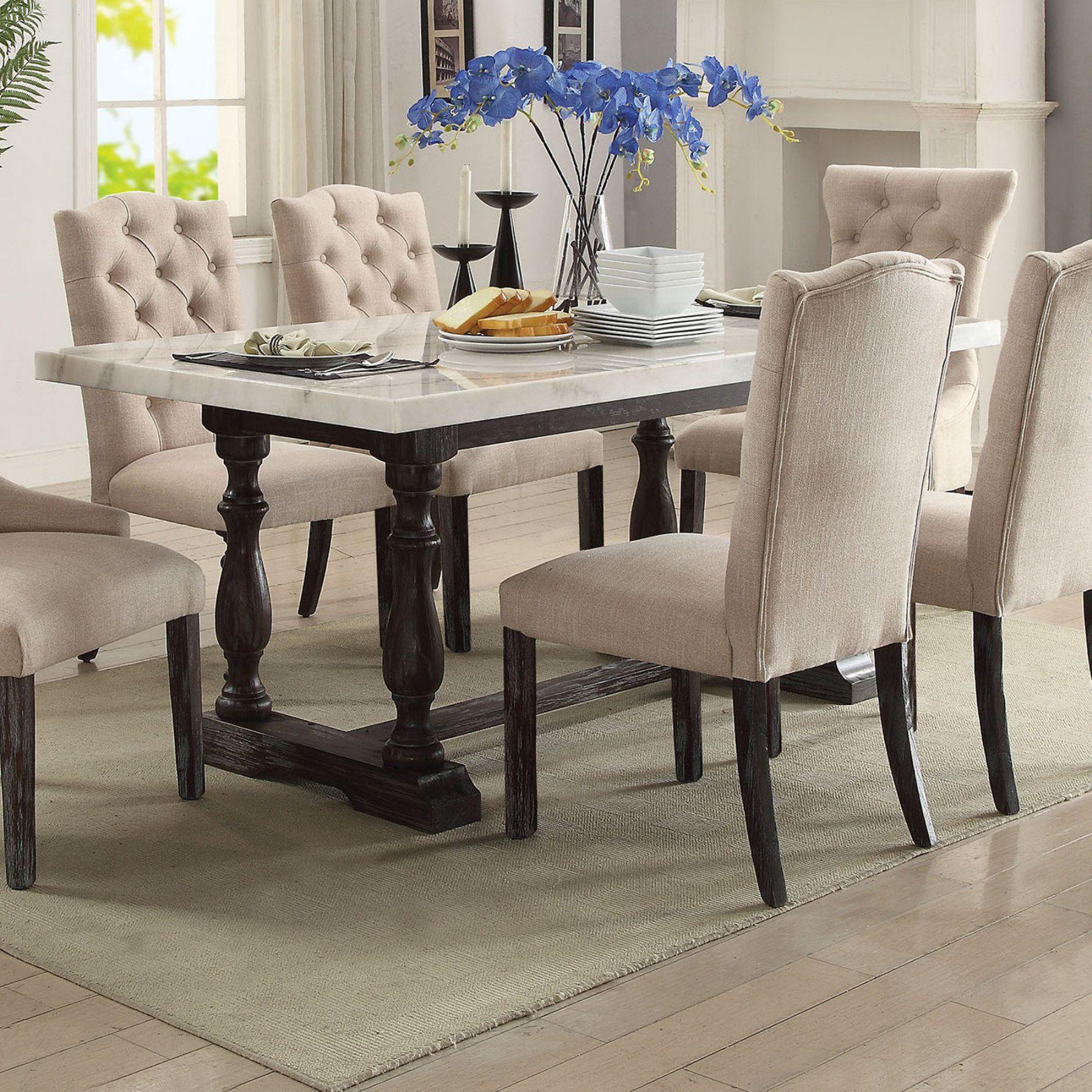 Acme Furniture Gerardo 72 In Rectangular Marble Dining