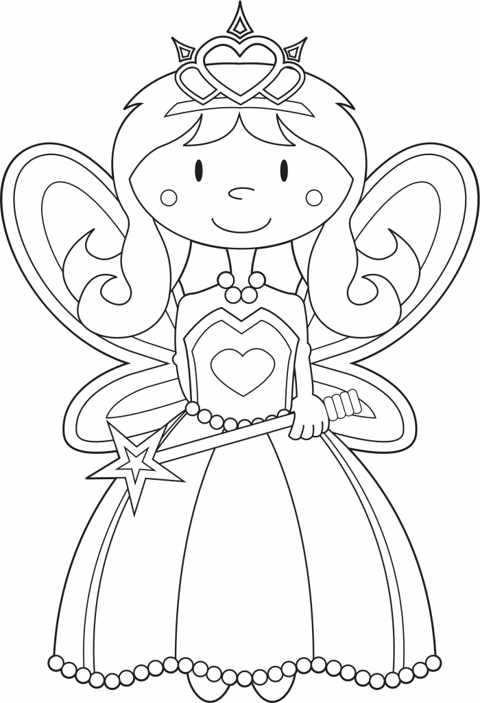 coloring book page for princess  FAIRY PRINCESS COLORING PICTURE