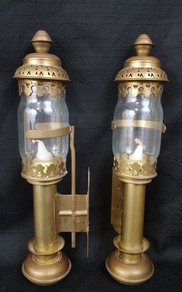 Vtg Pair Railroad Br Spring Loaded Wall Sconces Candle Holder Steampunk