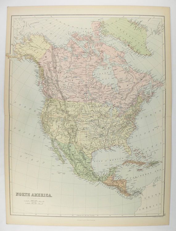 1884 Vintage North America Map, United States, Mexico Map, Central ...