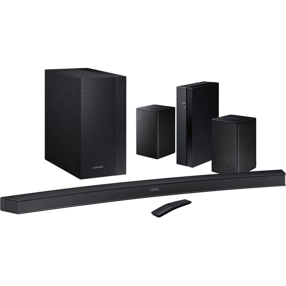 Samsung - 2.1-Channel Curved Soundbar System with Subwoofer & Wireless Rear Loudspeakers (Pair) Package