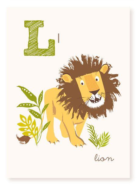 ABC card, L is for Lion, ABC wall art, alphabet flash cards, nursery ...