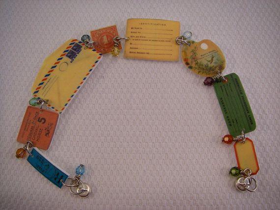 Bracelet-Ephemera, Shrinky-Dink, Bon Voyage Bracelet