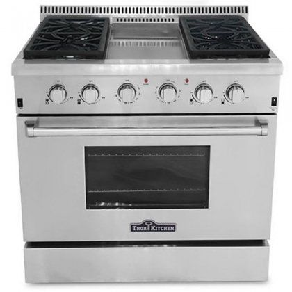 Thor Kitchen Hrg3609u 36 Freestanding Gas Range Convection Oven In Stainless Steel Ranges Gas Stove With Oven Oven Range Stove Oven