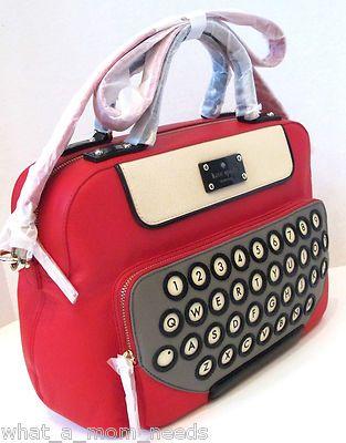 Kate Spade All Typed Up Clyde Handbag Bag Purse Red Typewriter Satchel Rare Ebay