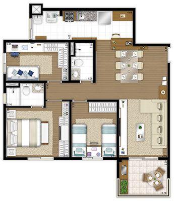 apartamento planta 84,50m2 3 quartos