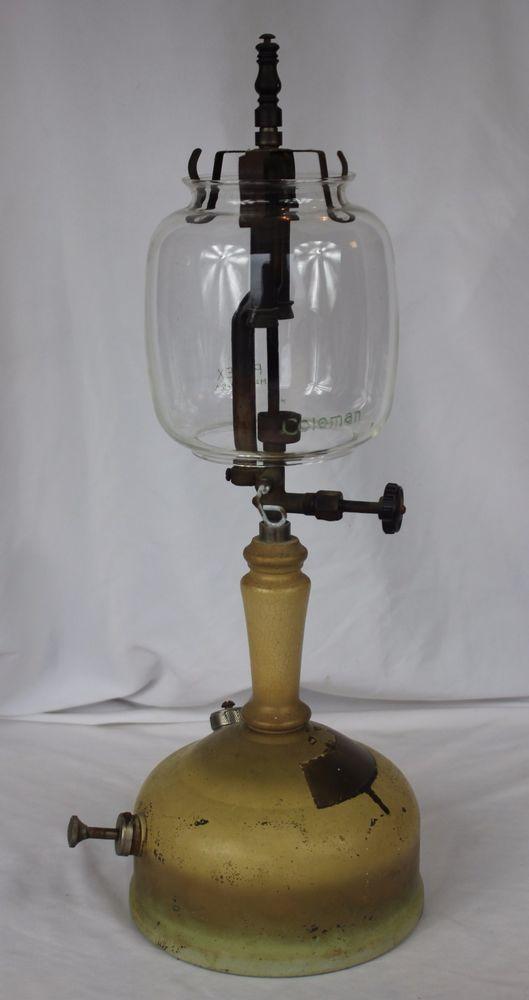 Vtg Coleman No 152 Tabletop Gas Kerosene Lantern Table Lamp W Pyrex Globe Oil Lamps Old Lamps Gas Lamp
