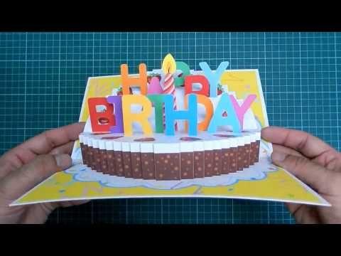 Happy Birthday Cake Pop Up Card Tutorial Youtube Birthday Cake Pops Birthday Cake Card Happy Birthday Cakes