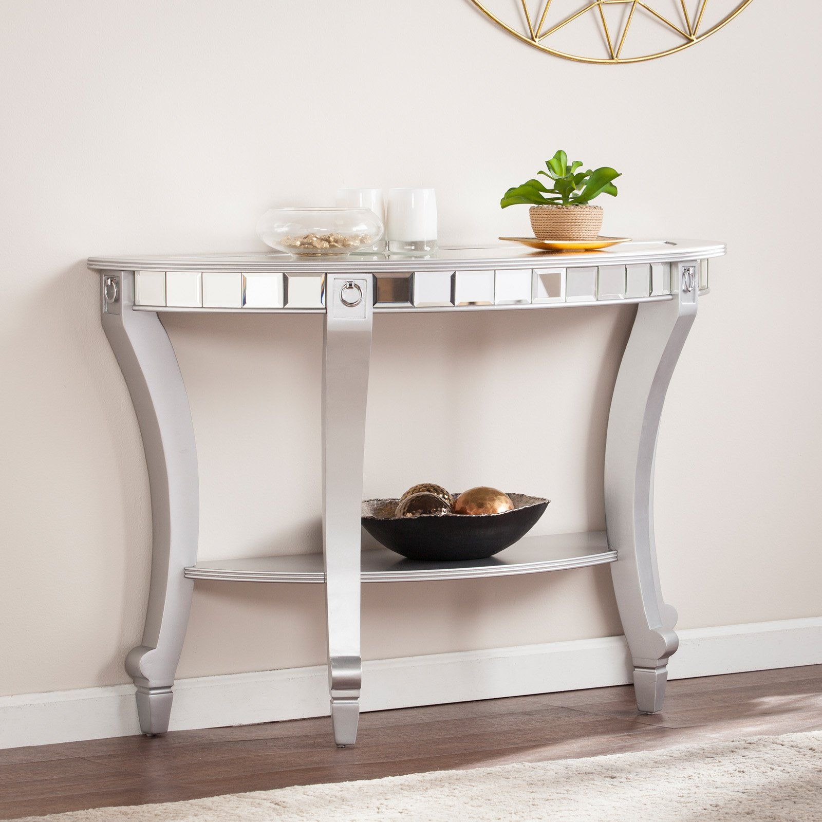 Southern Enterprises Lindsay Glam Mirrored Demilune Console Table Matte Silver Mirrored Console Table Console Table Silver Console Table