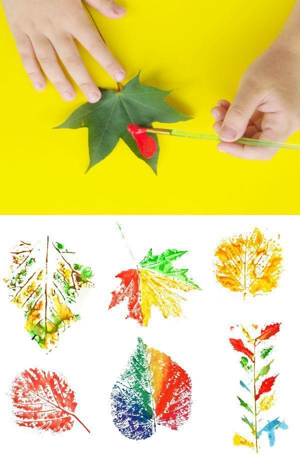 Unterhaltsame und kreative Möglichkeiten für Kinder mit Blättern zu malen H