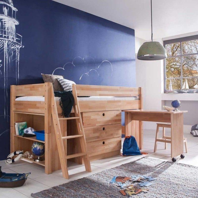 Stauraum Bett Buche Massivholz Halbhoch Comandra Jpg Halbhohes Bett Mit Schreibtisch Kinderbett Bett Mit Schreibtisch