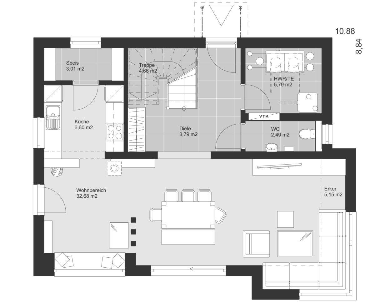 Einfamilienhaus Grundriss Erdgeschoss mit Erker Anbau & offener