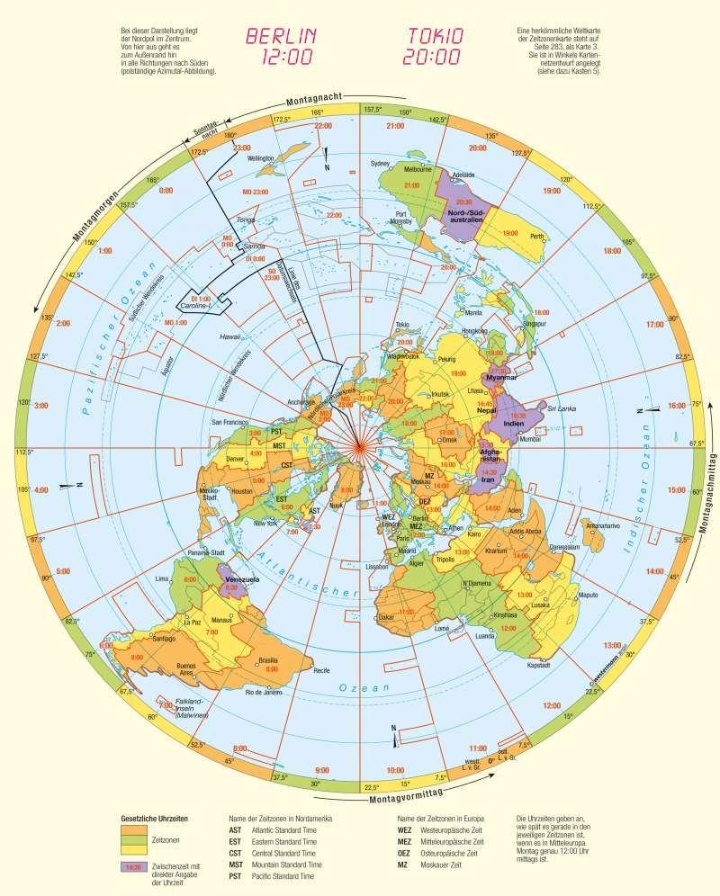 Karte Erde.Zeitzonen Kartenlesen Gradnetz Und Orientierung Karte 10 3