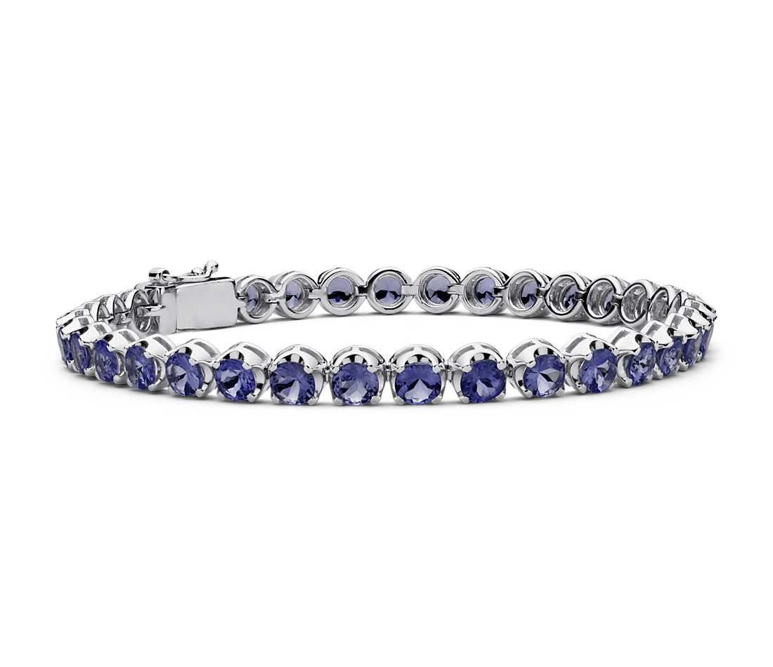 Ice Gems Sterling Silver Created Ruby Sapphire or Emerald Gemstone 9x7mm Oval Tennis Bracelet