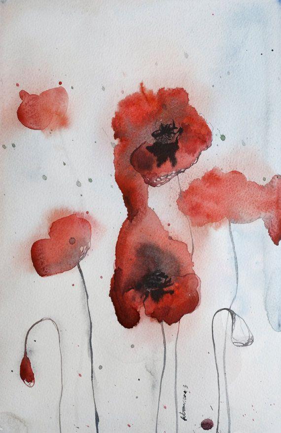 Roter Mohn - expressive original Aquarellzeichnung - kunst fürs wohnzimmer