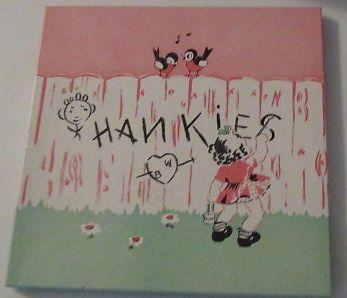 VINTAGE HANKIES + BOX MINT UNUSED 2 LINEN HANKIS GIRL DOLL CARRIAGE + DOG