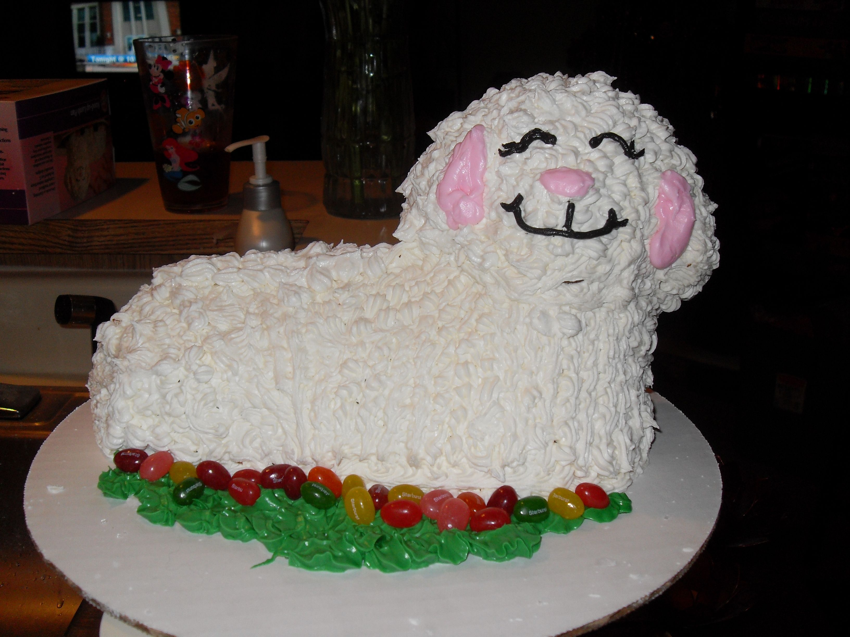 Easter lamb cake cake is made of pound cake in a lamb