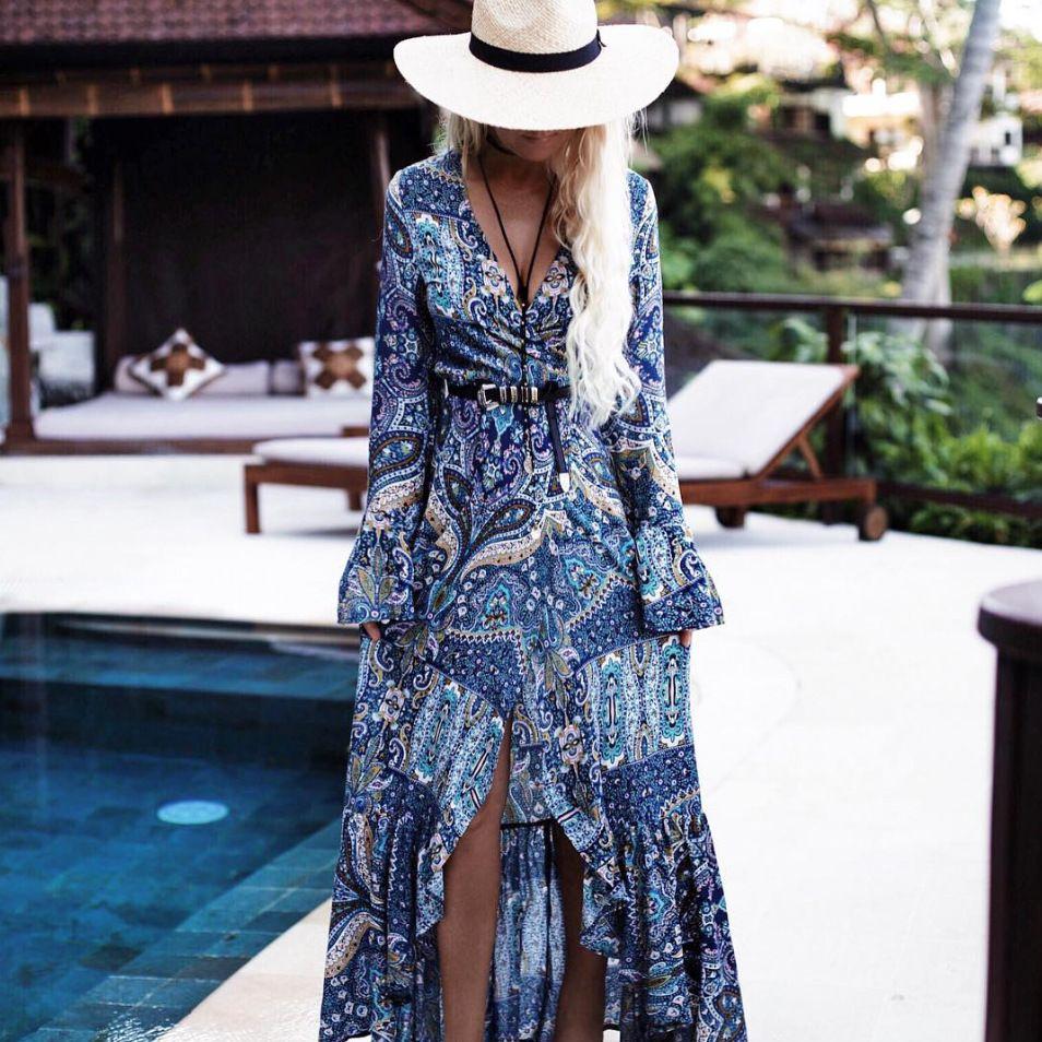 Bohemian style long maxi women dress long sleeve printing boho dress