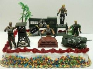 Awesome GI JOE birthday cake with action figure toppers Couple of