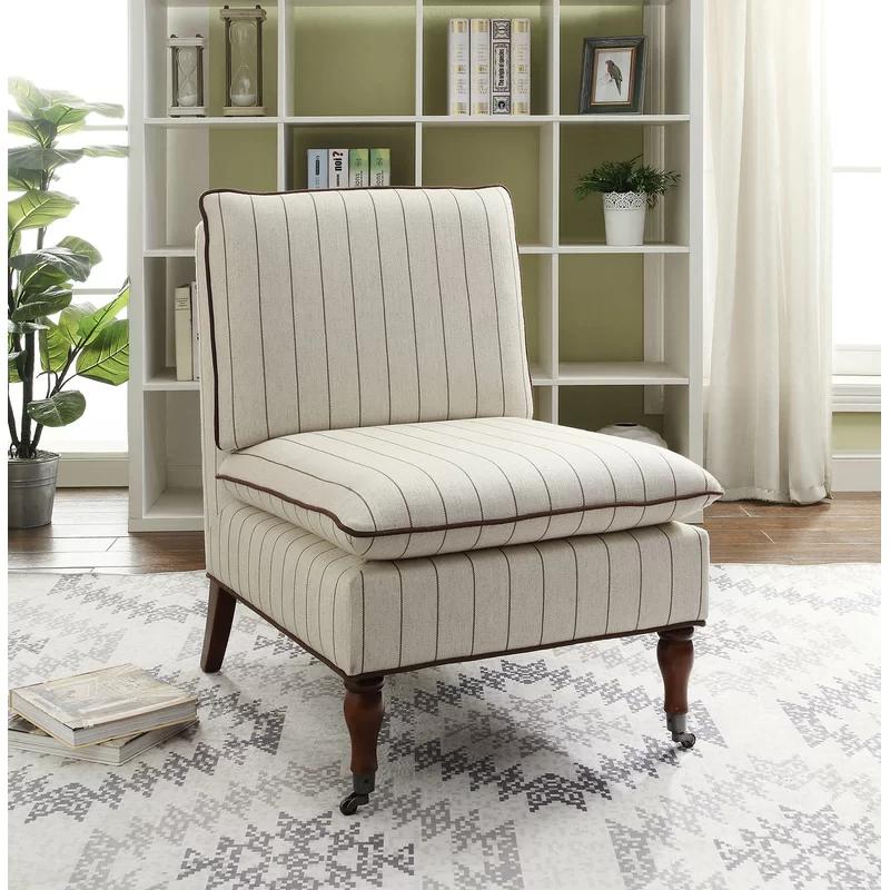 Highland Dunes Erica Slipper Chair Wayfair Slipper Chair Linon Home Decor Striped Upholstery