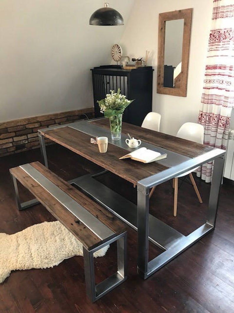 industrial steel  reclaimed wood dining table and bench