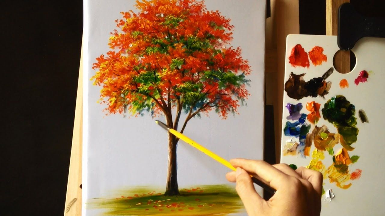 How To Paint A Tree With Acrylic Lesson 12 Acrylic Painting