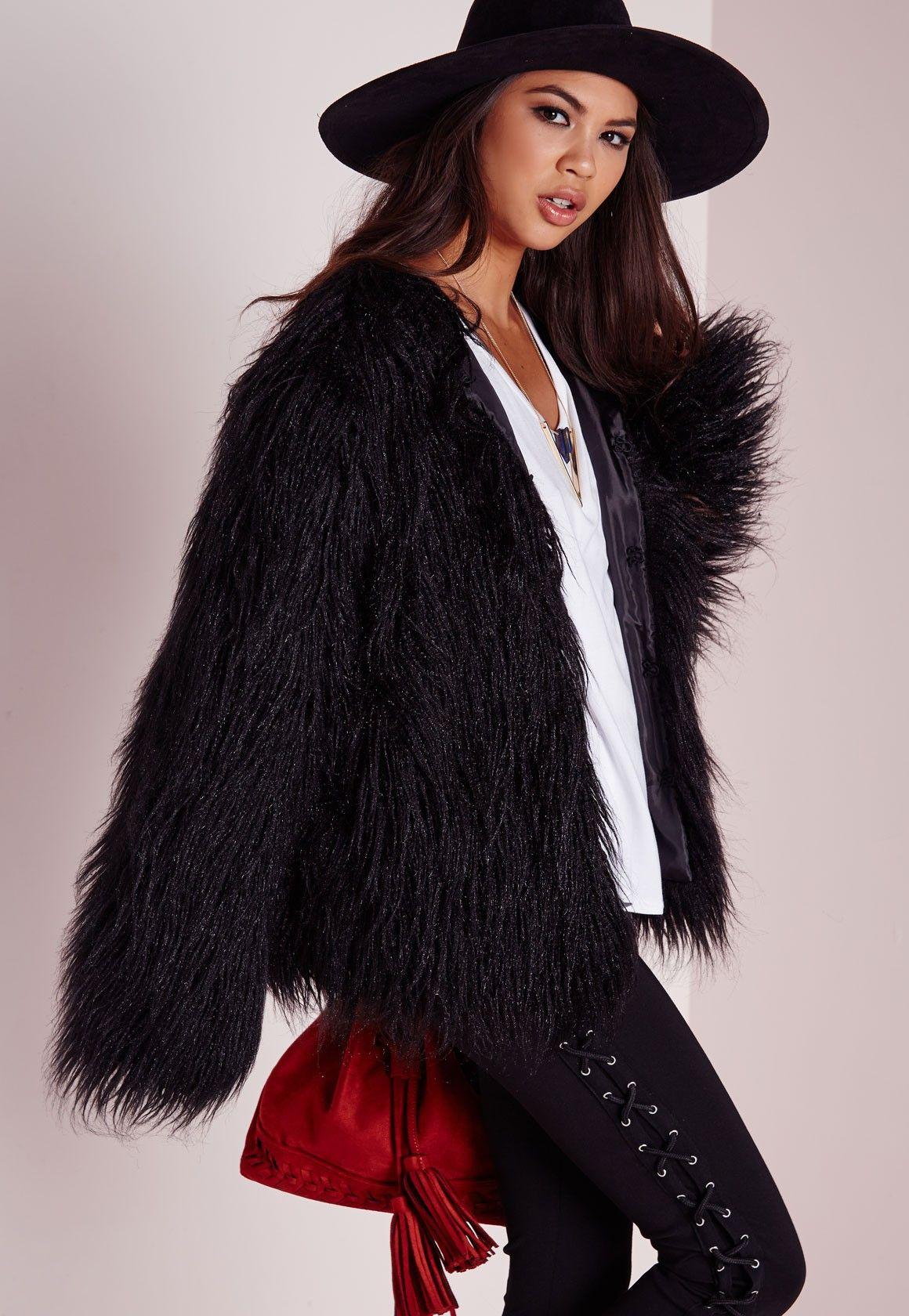 missguided veste en fausse fourrure noire veste en. Black Bedroom Furniture Sets. Home Design Ideas