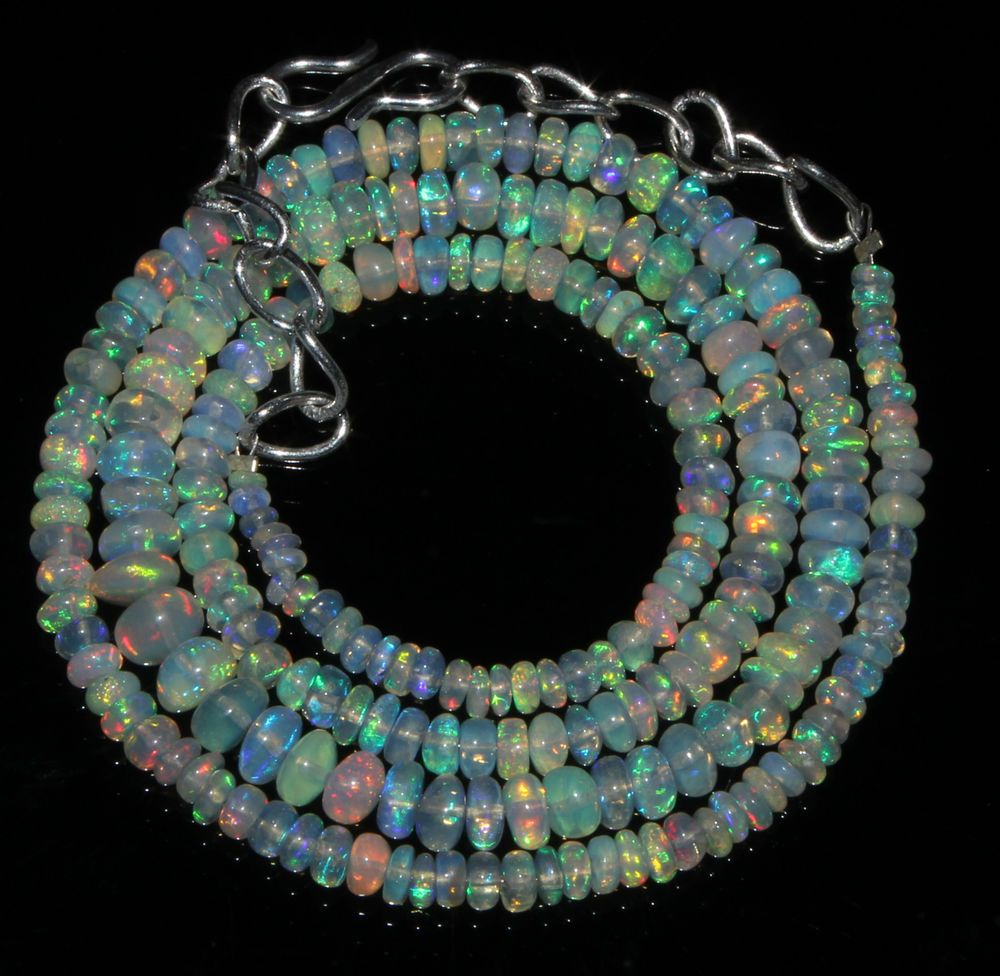 """48 Crts 1 Necklace 3to5mm 19"""" Beads Natural Ethiopian Welo Fire  Opal  61122"""