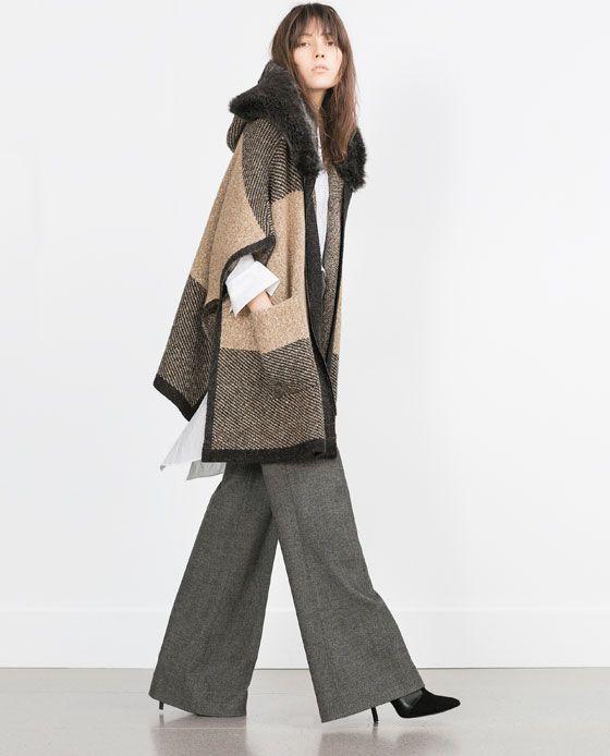 zara woman poncho with faux fur hood manteaux pinterest manteau. Black Bedroom Furniture Sets. Home Design Ideas