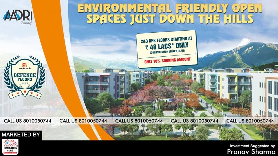 """""""2 & 3 BHK Floors Starting @ ₹48 LACS* Only.""""  Do you dream of living in the pristine hills of Aravalli? So, Investors Clinic & Supertech offering you a deluxe residential space 'Aadri', at Gurgaon. At Aadri, nothing will come in between you and the hills. Come and live your natural dreams here.  To get full information, call us at: +91 8010050744.  #supertech #Property #Gurgaon #Realestate"""