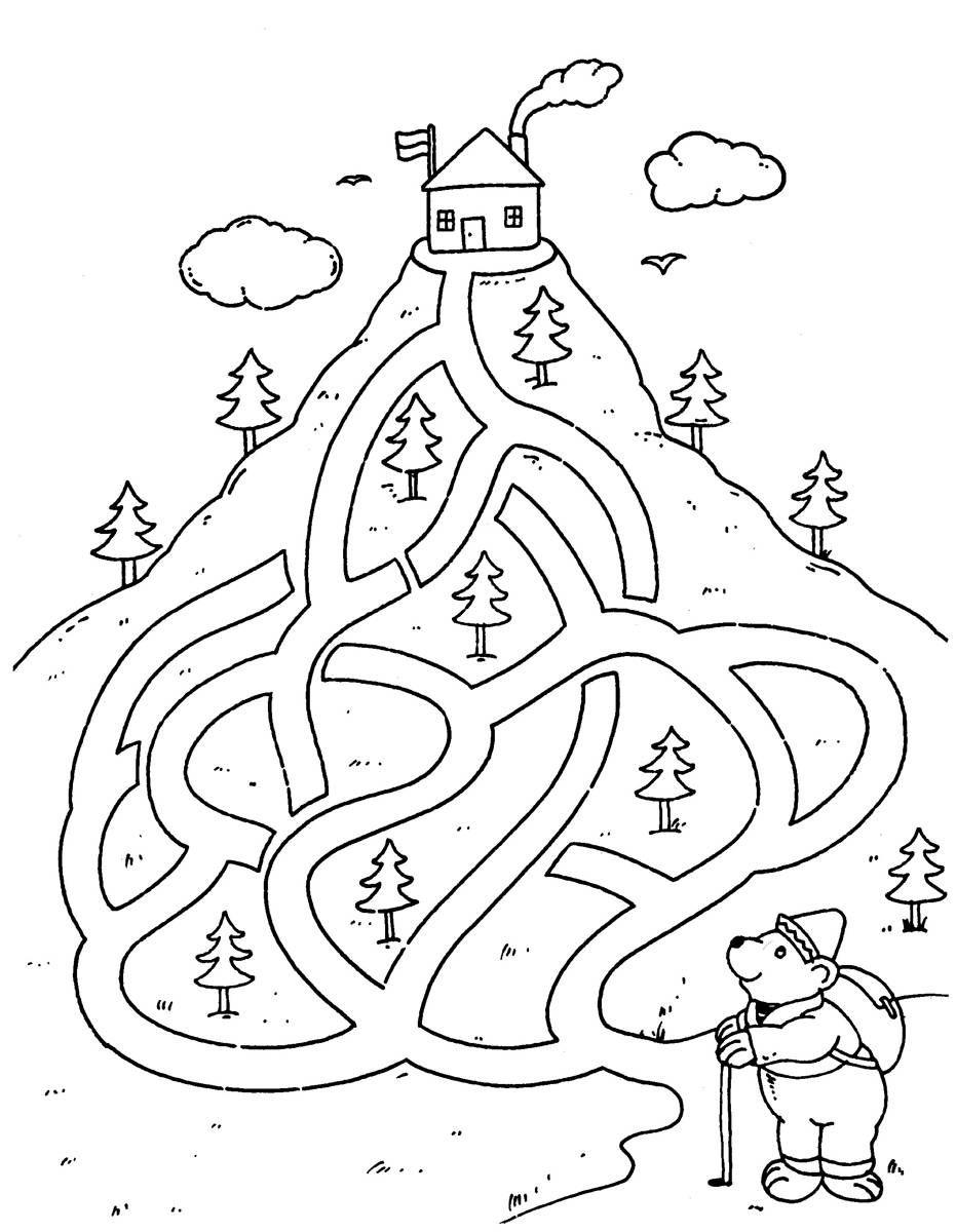 Ausmalbild Urlaub und Reisen: Aufstieg zur Berghütte kostenlos