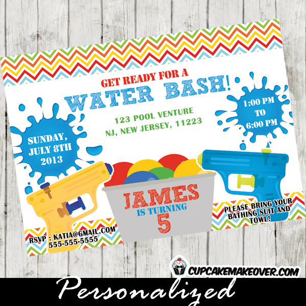 Water bash party invitation for boys personalized party printable water gun birthday invitation for boys this personalized water bash party invitation card features yellow and blue squirt guns on a striped stopboris Gallery