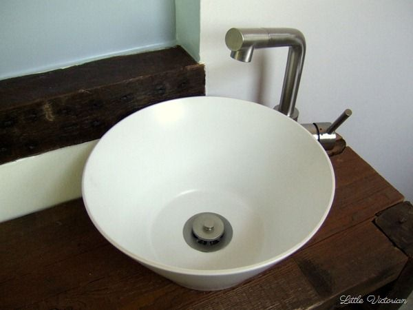 How To Make A Vessel Sink From A Serving Bowl Little Victorian Diy Bowl Sink Vessel Sink Diy Bathroom Sink Bowls