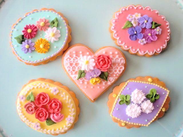 Flower cookies. かわいいお菓子 micarina
