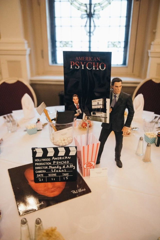 Movie themed table decorations at reception our wedding for Table theme cinema