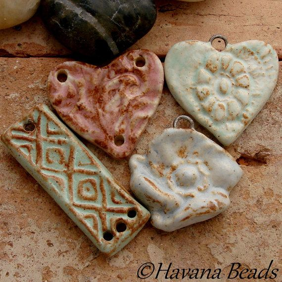 DESTASH  SALE No. 5 - Set of 4 Handmade Ceramic Pendants - Havana Beads - $16.00