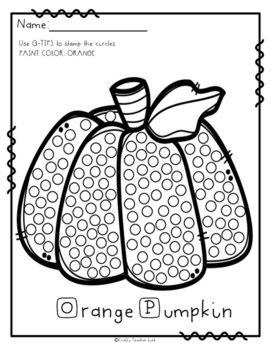 q tip pumpkin template  Q-tip Painting / October / Fine Motor Activity | Q tip ...