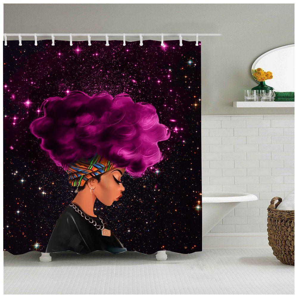 AFRICAN WITH PURPLE HAIR BATHROOM SHOWER CURTAIN