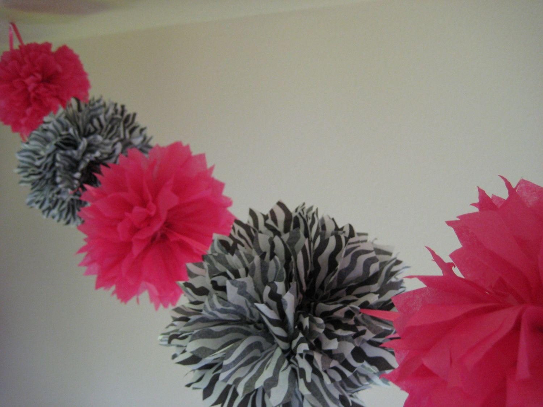 Zebra wedding decorations  hot pink and zebra pom pom garland  Kenedi b day ideas  Pinterest