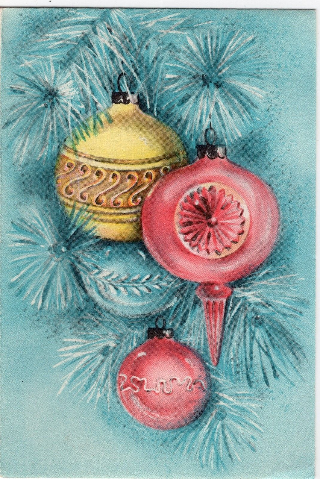 Hallmark pink aqua teal indent shiny brite ornaments vtg christmas vintage christmas greeting card in all categories m4hsunfo