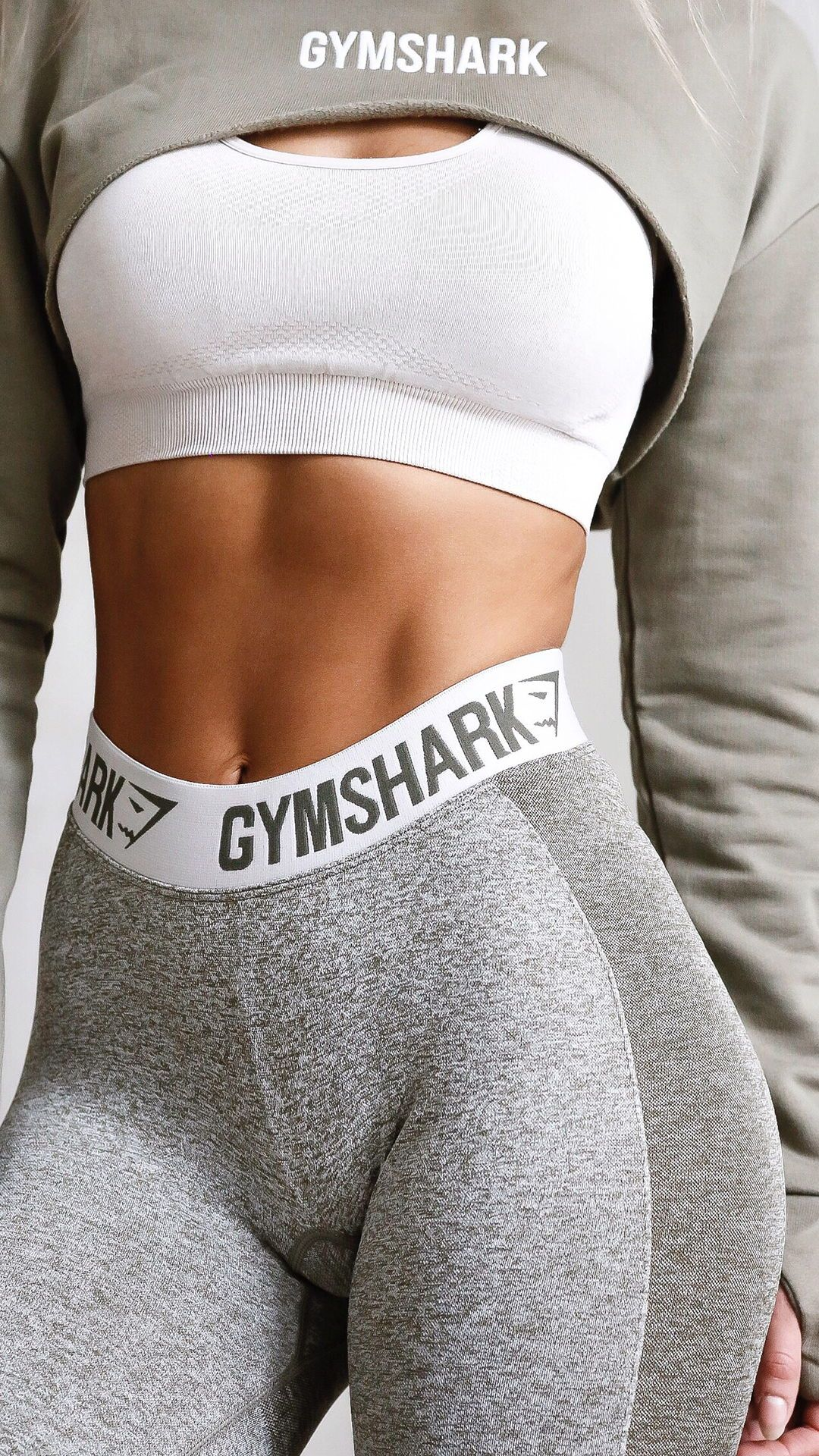 5ab90e27ad84b4 The Super Crop in Khaki with some matching Khaki Flex Leggings and Gymshark  Sports Bra