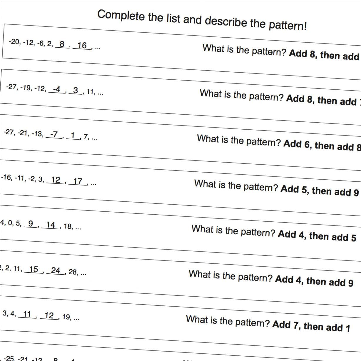 Math Worksheets Multi Step Number Pattern Worksheets With Negatives
