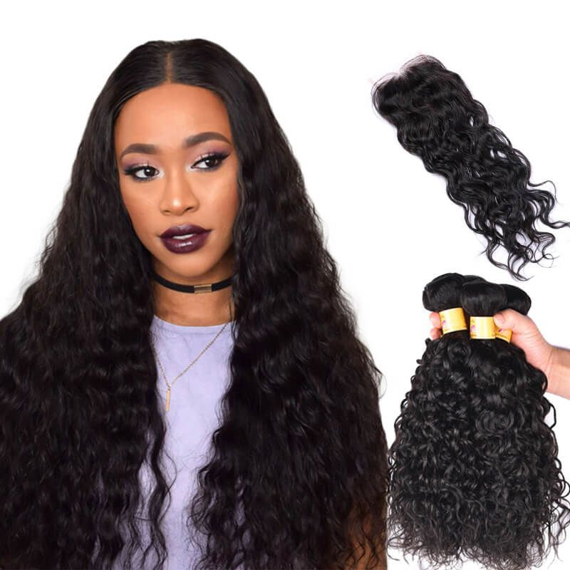Marchqueen Indian Virgin Hair Water Wave With Closure 4 Bundles