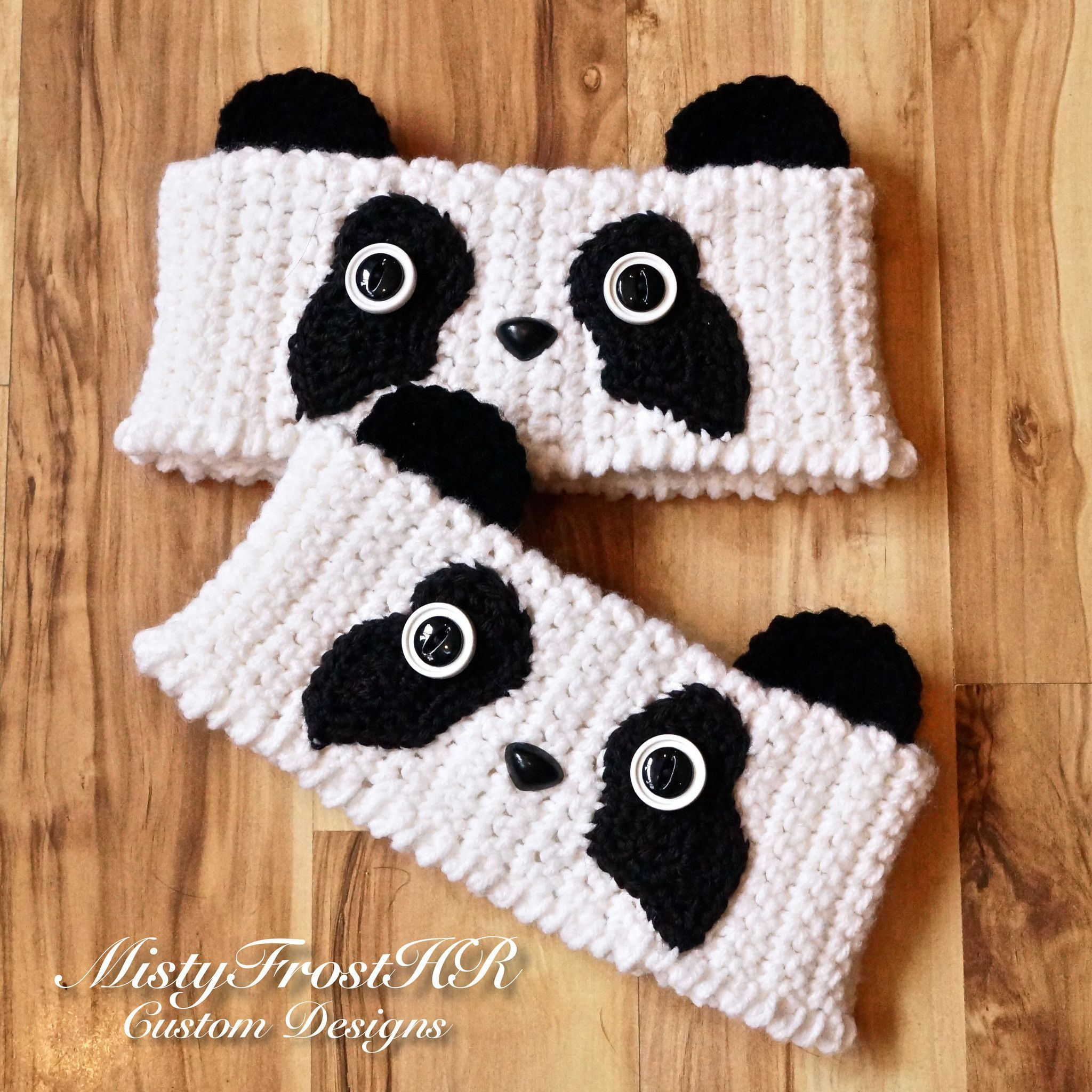Crochet Perfectly Panda Bear Boot Cuff Toppers … | Pinteres…