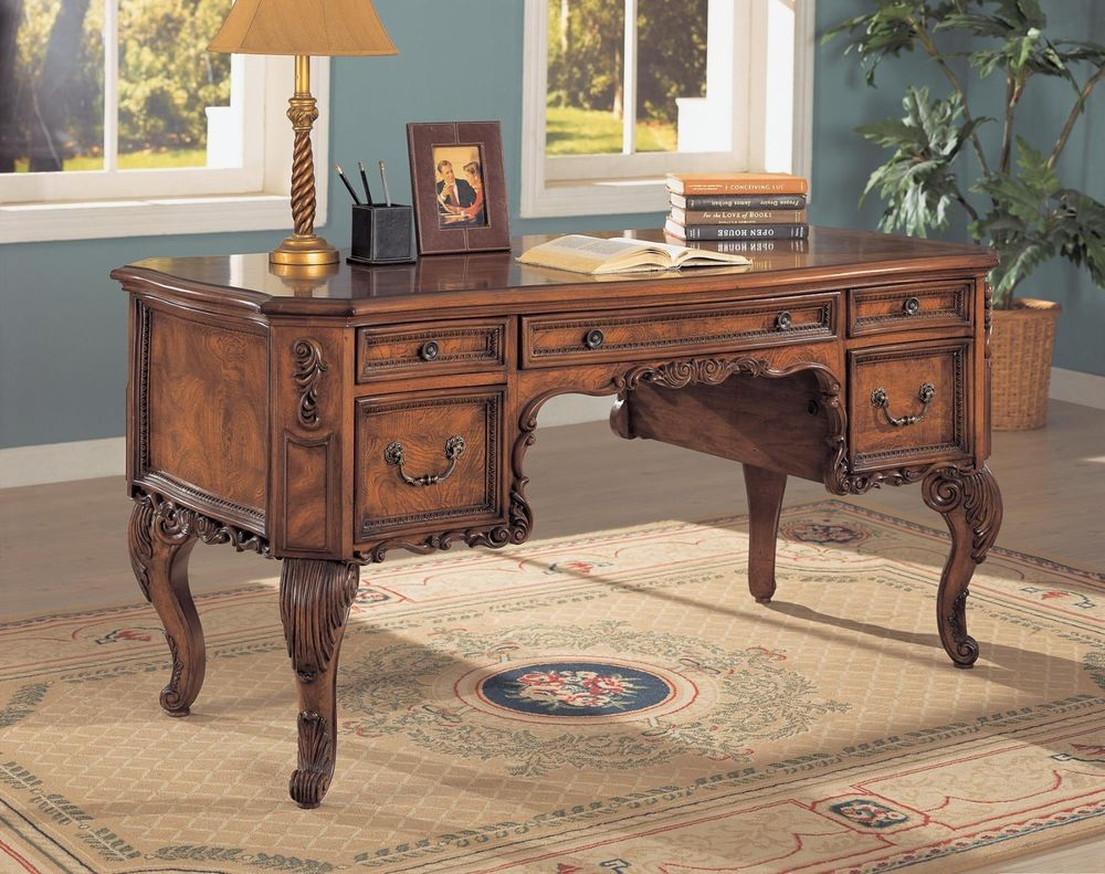 Awesome ornate antique style burl inlay executive computer office desk  furniture - Awesome Ornate Antique Style Burl Inlay Executive Computer Office