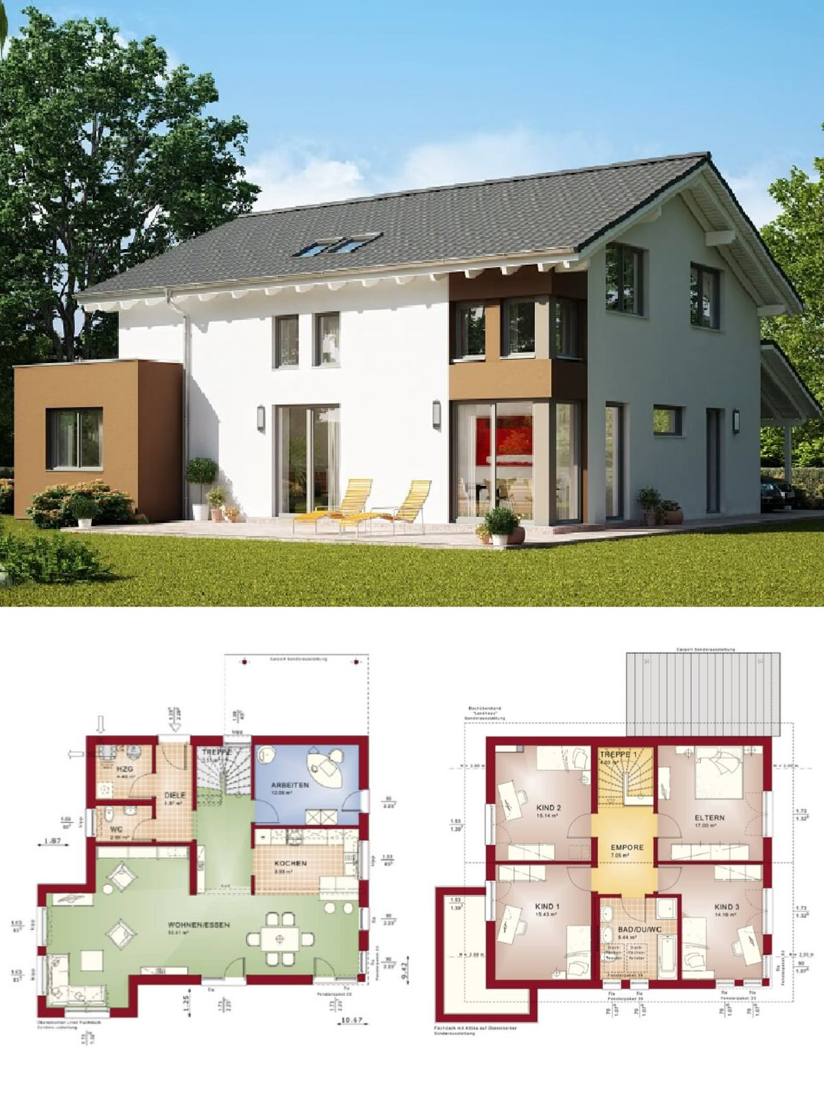 Einfamilienhaus Neubau Modern Mit Satteldach Architektur, Erker Anbau U0026  Carport   Haus Bauen Grundriss Fertighaus