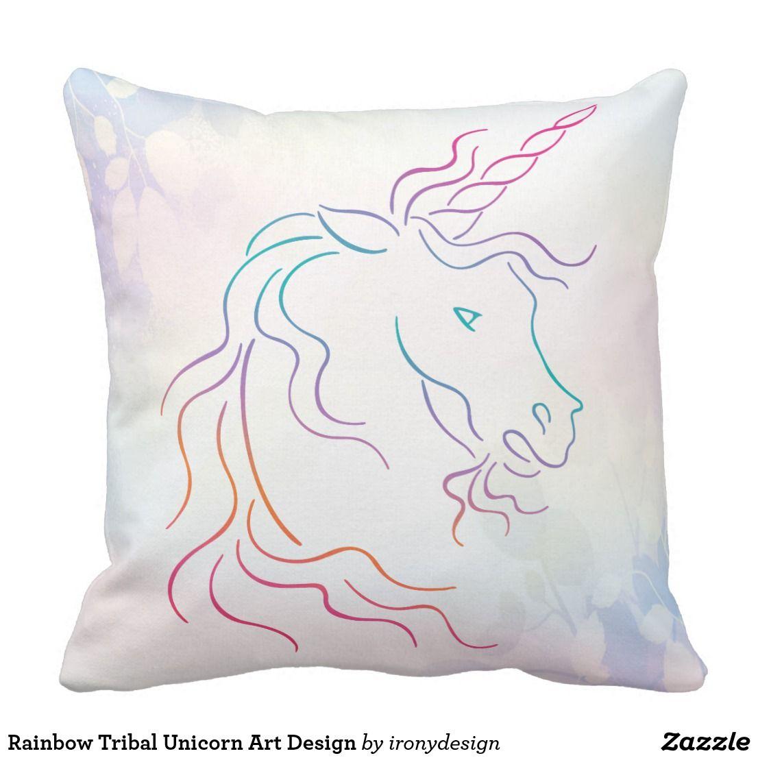 Rainbow tribal unicorn art design throw pillow pinterest unicorn