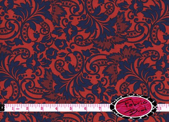 NAVY & RED Fabric by the Yard Half Yard or Fat Quarter Floral Paisley Fabric Screen Print Fabric 100% Cotton Apparel Fabric a5-19